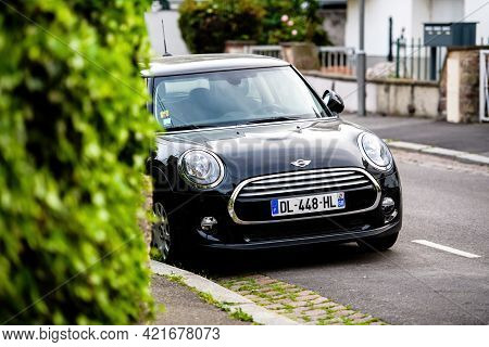 Strasbourg, France - May 28, 2017: New British Mini Cooper Car Parked In The City On A French Street