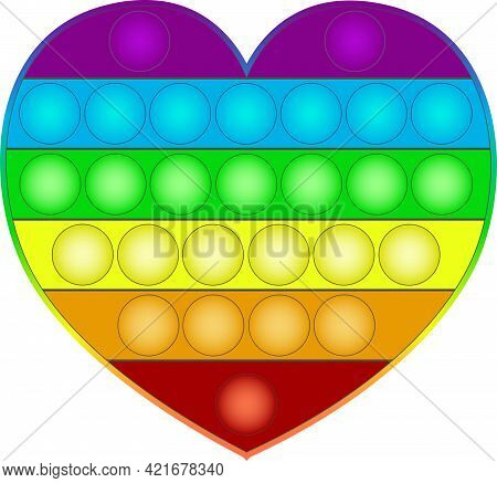 Pop It Antistress Popular Toy. Silicon Heart Like Toy For Children And Teenagers. Rainbow Colors
