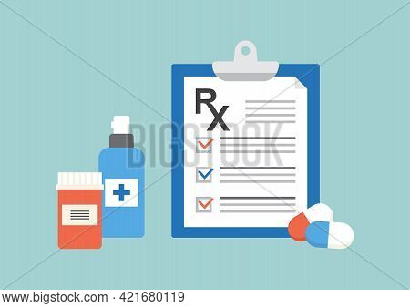 Rx Prescription Form Vector Icon, Medical Paper Document And Insurance On Blue Background. Medicine