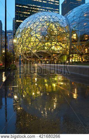 Seattle, Washington Usa - April 16, 2018. Amazon Headquarter Seattle.the Spheres Of The Amazon Headq