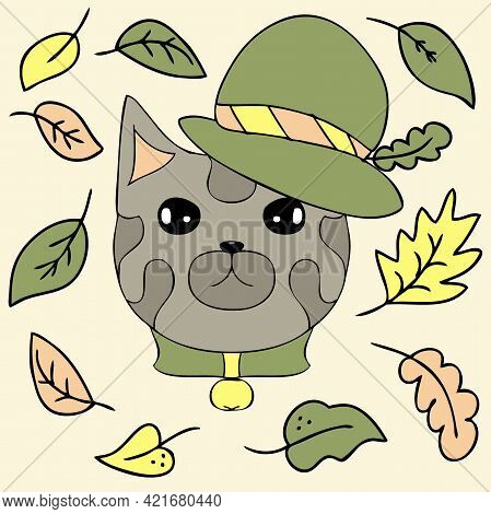 Drawing Of A Brave Grey Cat In A Hat And Autumn Leaves. Cartoon Style. Hand Drawn Vector Illustratio
