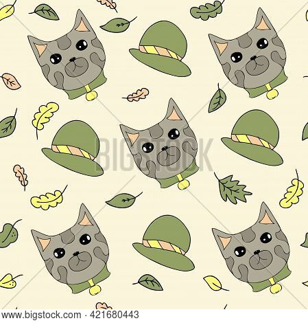 Seamless Pattern Of A Brave Grey Cats, Hats And Autumn Leaves. Perfect For Scrapbooking, Textile And