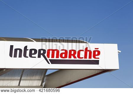 La Clayette, France - September 12, 2020: Intermarche Logo On A Building. Intermarche Is The Brand O