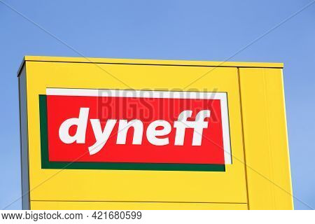Beaujeu, France - September 12, 2020: Dyneff Logo On A Signboard. Dyneff Is A French Company, Specia