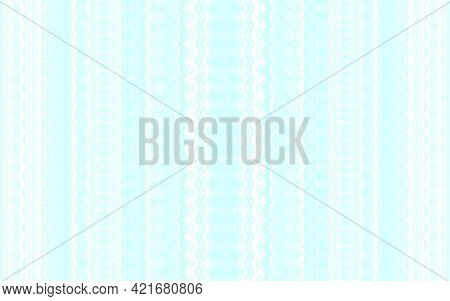 Seamless Illustration, White Vertical Ornament On A Light Background In Cyan Color, Pastel Colors
