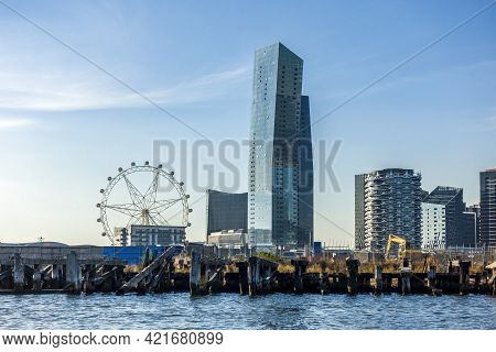 Melbourne, Australia - May 17, 2019: View Of The Melbourne Skyline From The Yarra River. Melbourne S