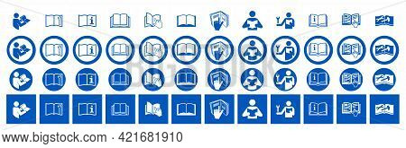 Set Of Refer To Instruction Manual Signs. Vector Illustration Of Circular Blue Signs With Hand Point