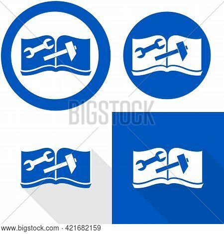 Manual Repair Book Symbol. Read Before Use. Refer To Instruction Manual Booklet Mandatory Sign