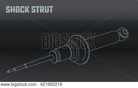Line Vector Auto Moto Parts Accessories Shock Strut. Repair Service Equipment. Engine Elements Shop