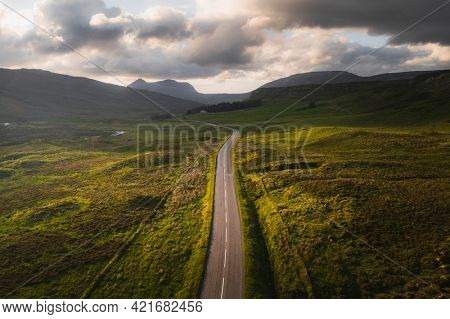 Scenic route during sunset in Scotland