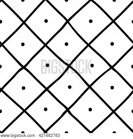 Black And White Seamless Diagonal Plaid Background. Hand Drawn Pattern With Diagonal Design. Vector