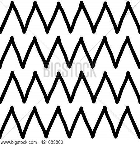Black And White Zig Zag Seamless Background. Hand Drawn Zig Zag Pattern. Vector Zigzag Wallpaper.