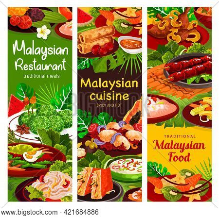 Malaysian Cuisine Banners Of Vector Vegetable, Meat And Seafood Meal With Rice Dessert. Shrimp Sprin