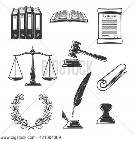 Notary, Justice And Court, Judge Power And Authority Icons. Vector Law Book, Scales Of Justice And S