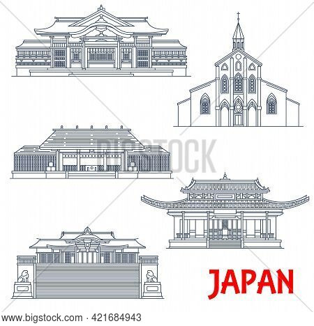 Japanese Temples, Japan Architecture, Landmarks And Pagoda Buildings, Vector. Japan Travel And Buddh