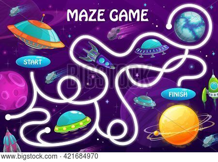 Labyrinth Maze Game With Space Planets And Shuttles. Kids Vector Board Game With Rockets And Alien U