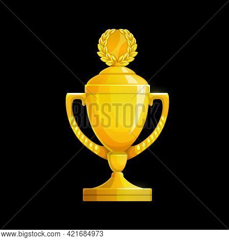 Golden Trophy Cup Icon, Vector Gold Goblet For First Place Winner Prize Award. Champion Cup With Lau