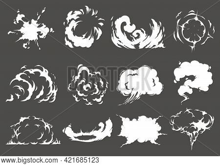Explosion And Burst Clouds. Cartoon Vector Explosive, Dynamite Or Mine Detonation, Atomic Bomb, Nucl