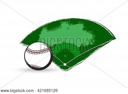 Baseball Sport Game Vector Ball And Diamond Play Field Of Stadium Or Ballpark With Bases, Home Plate