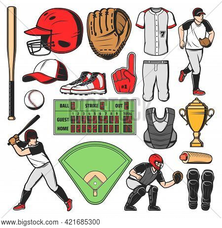 Baseball Sport Game Equipment, Players And Field. Vector Bat, Ball And Catcher Protective Helmet, Pi