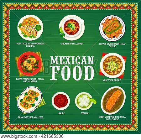 Mexican Food Menu, Mexico Cuisine Dishes And Meals, Vector Cover Or Poster. Traditional Mexican Cuis