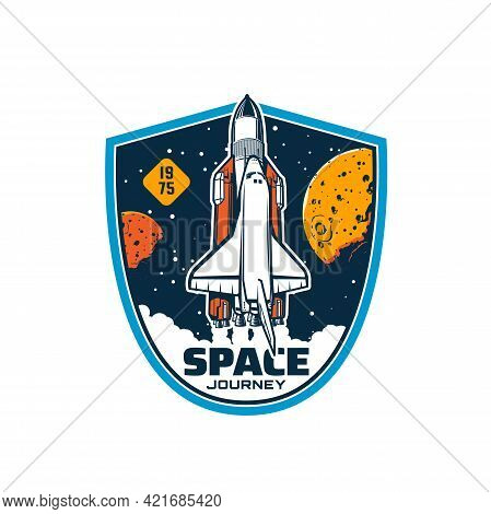 Space Shuttle On Start, Vector Rocket Missile Booster Carrier With Spaceship On Board Leave Earth To