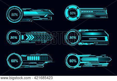 Hud Futuristic Vector Loading Bars Sci Fi Game User Interface Technology. Digital Loading Progress O