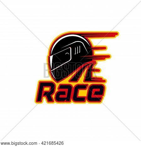 Racing Helmet Icon Of Motorcycle Or Car Sport Races And Club Vector Emblem. Rally And Engine Motors
