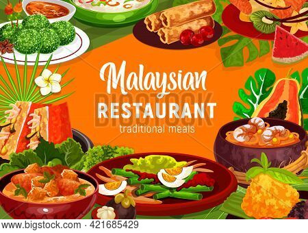 Malaysian Cuisine Food Vector Poster With Vegetable Salad, Seafood Noodle Soup Laksa And Coconut Mea