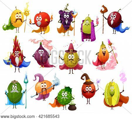 Funny Fruit Magician And Wizard Cartoon Characters. Melon, Grapes And Plume With Scepter, Peach And