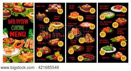 Malaysian Cuisine Menu Meals With Vector Asian Seafood, Vegetable And Meat Food. Rice, Coconut Beef