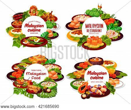 Malaysian Cuisine Round Posters, Vector Vegetable Food With Meat, Seafood, Fish And Rice Dessert. No