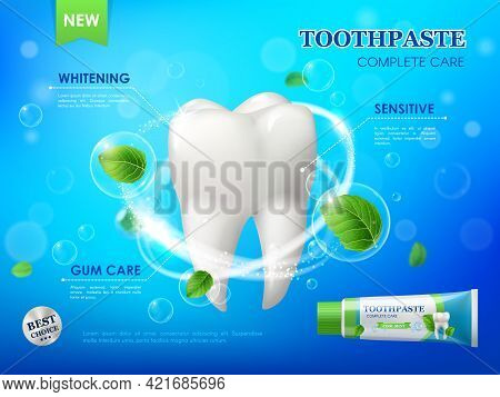 Mint Toothpaste, Teeth Whitening, Gum Care And Cleaning Vector Ad Poster With White Healthy Tooth, S