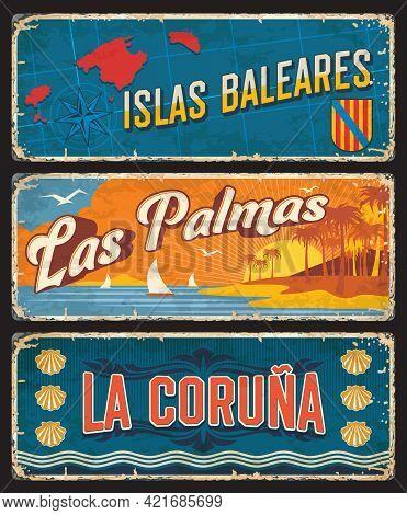 Spain Baleares Islas, Las Palmas And La Coruna Plates And Tin Rusty Signs, Vector. Spanish Balearic
