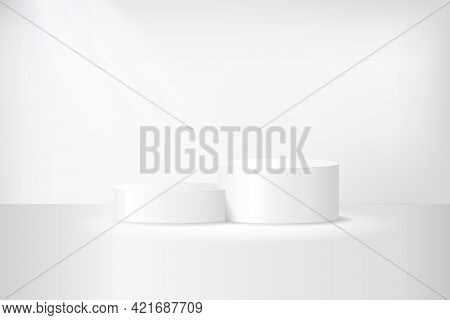 White 3d Podium Mockup In Circle Shape. Empty Stage Or Pedestal Mockup Illuminated With Spotlight. P