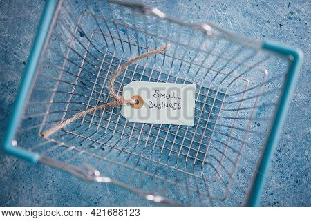 Product Tags With Small Business Text With Customer Shopping Basket, Supporting Small Local Business