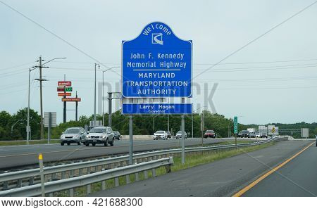 Perryville, Maryland, U.s.a - May 17, 2021 - The John F Kennedy Memorial Highway On Interstate 95