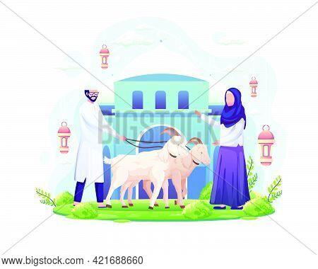 The Couple Celebrates Eid Al Adha By Donating Two Goats For Qurban. Eid Al Adha Mubarak. Flat Vector
