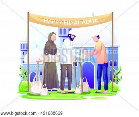 People Distribute Sacrificial Meat On Eid Al Adha. Happy Celebrate Eid Al Adha Mubarak. Flat Vector