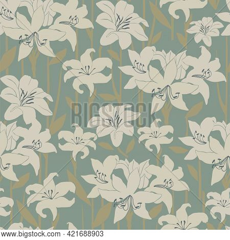 Abstract Amaryllis Flower Motif With Khaki Background Seamless Repeat Pattern Digital File Pattern A