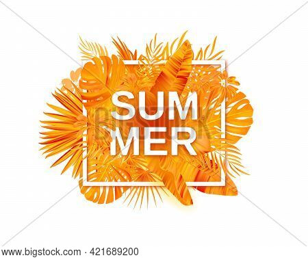 Summer Tropical Vector Design For Banner Or Flyer With Exotic Palm Leaves, Hibiscus Flowers And Hand