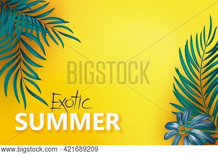 Flat-lay Of Blue Green Palm Branches Over Yellow Background, Top View, Copy Space, Wide Composition.