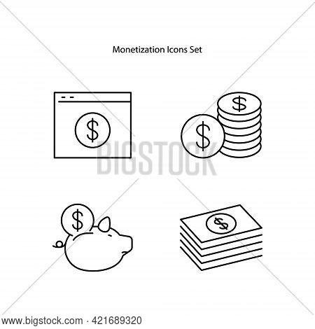 Monetization Icons Set Isolated On White Background. Monetization Icon Trendy And Modern Monetizatio