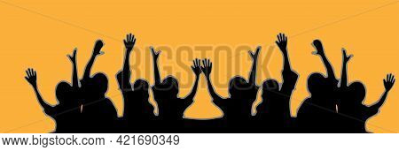 Hands Up Vector Isolated On Background T, Social, Solidarity, Spectator
