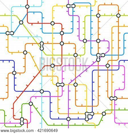 Abstract Metro Map In Shape Of Circle. Vector Subway Underground Scheme. City Transportation Diagram