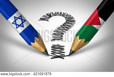 Israel And Palestine Crisis And Middle East Conflict Or Israeli And Palestinian Questions With Two O
