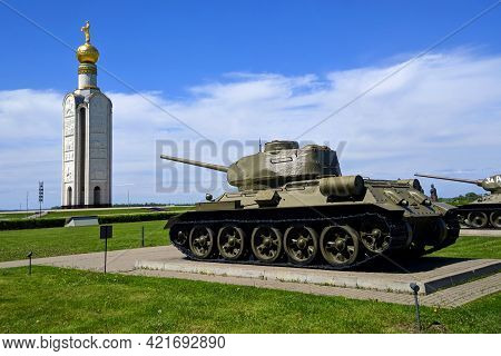 Tank Against The Background Of The Belfry Is A Monument Of The Great Patriotic War, City Of Belgorod