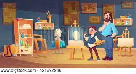 Art Class Scene With Child Studying Painting With Teacher Support. Student Boy In Artist Studio Draw