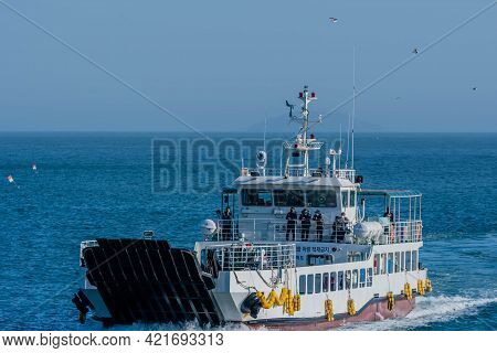 Sinjindo, South Korea; May 5, 2021: Fishing Charter With Unidentified Passengers On Deck Making Its