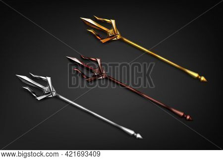 Poseidon Tridents, Marine God Neptune Weapon Of Gold, Silver And Bronze Colors. Sharp Pitchforks Dec